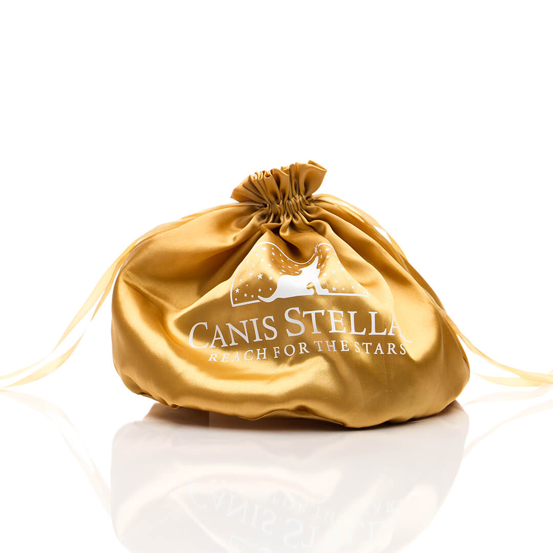 Luxury satin pouch for luxury dog products